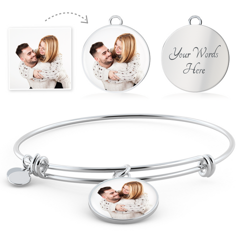 Custom Photo Charm Bangle For Couple/Lover