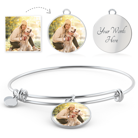 Custom Photo Charm Bangle For Pet Lover/Pet Parent