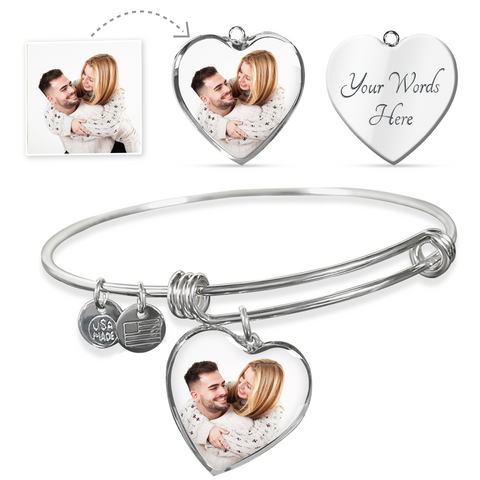 Custom Photo Heart Charm Bangle For Couple/Lover