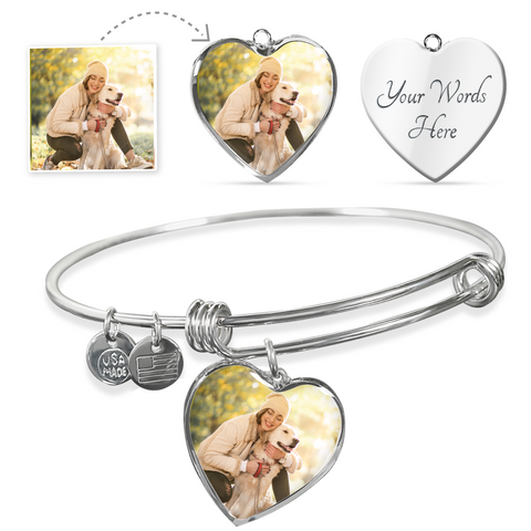 Custom Photo Heart Charm Bangle For Pet Lover/Pet Parent