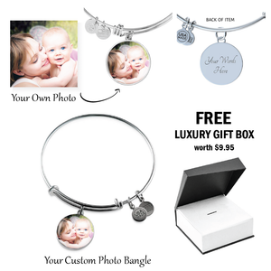 Custom Photo Charm Bangle For Mom/Grandma