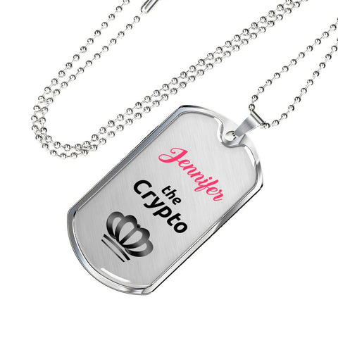 Personalized Crypto Queen Pendant Necklace