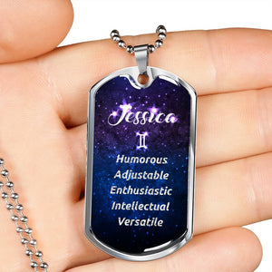 Gemini - Custom Name and Personality Zodiac Dog Tag Necklace