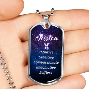 Pisces - Custom Name and Personality Zodiac Dog Tag Necklace