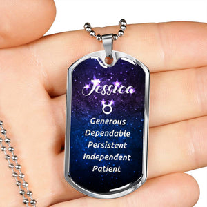 Taurus - Custom Name and Personality Zodiac Dog Tag Necklace