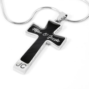 Custom Name Cross Pendant Necklace (Metallic Black) For Her