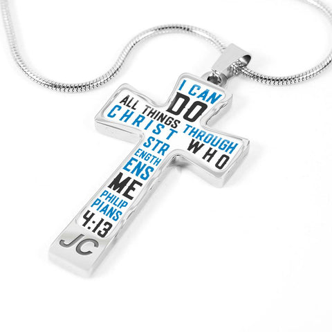 Scripture Bible Verse Cross Pendant Necklace (White)