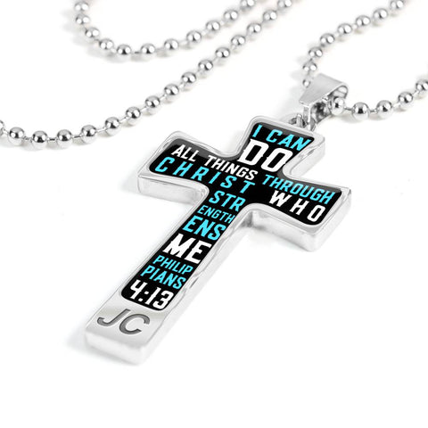 Scripture Bible Verse Cross Pendant Necklace (Black)