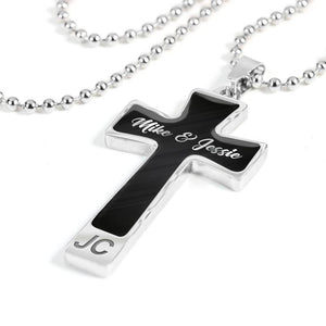 Custom Name Cross Pendant Necklace (Metallic Black) For Him