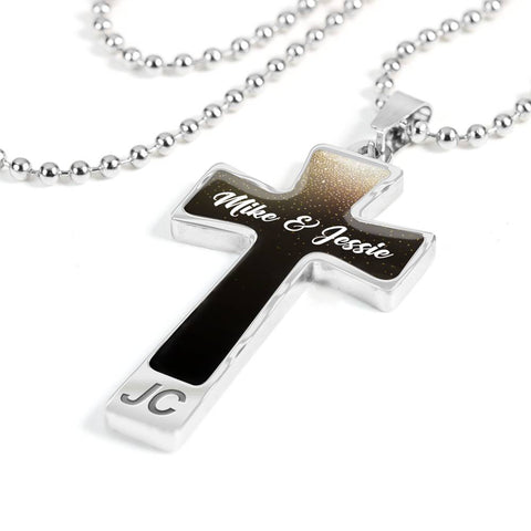Custom Name Cross Pendant Necklace For Him