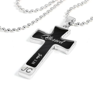Custom Text/Wordings Cross Pendant Necklace For Him