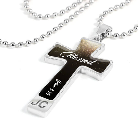 Custom Text Cross Pendant Necklace