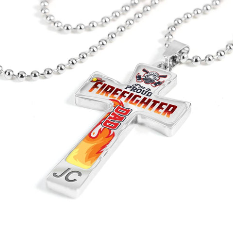 Fire Fighter Dad Cross Pendant Necklace