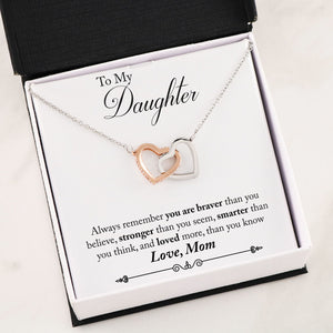 Personalized Message Card From Mom To Daughter - Interlocking Hearts Necklace