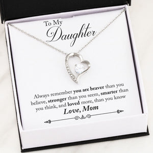 Personalized Message Card From Mom To Daughter - Forever Love Necklace