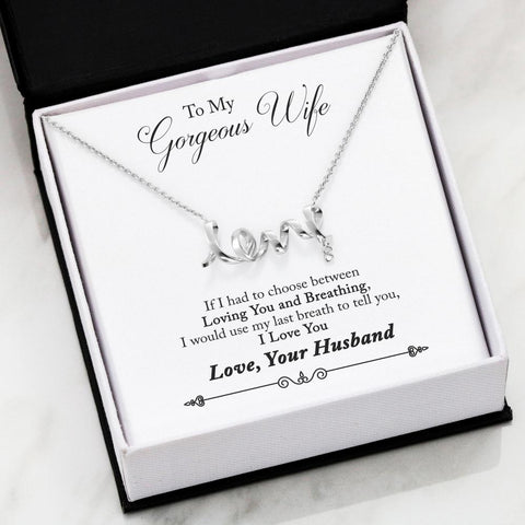 Personalized Message Card From Husband To Wife - Scripted Love Necklace