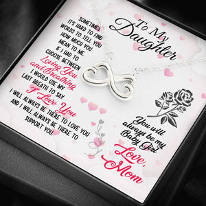 Personalized Message Card Infinity Heart Necklace (To Daughter)