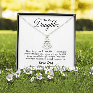 Personalized Message Card Anchor Heart Necklace (To Daughter)