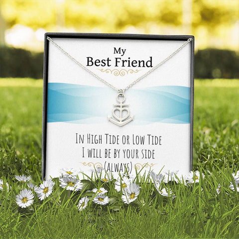 Personalized Message Card Anchor Heart Necklace (To Friend)