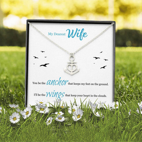 Personalized Message Card Anchor Heart Necklace (To Wife)