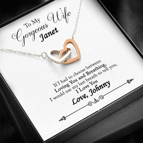 Personalized Message Card (Custom Name) Interlocking Hearts Necklace