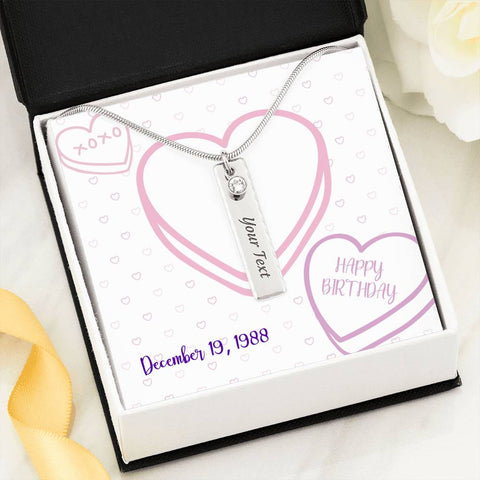 Personalized Message Card (Custom Birth Date and Name) Birthstone Name Necklace