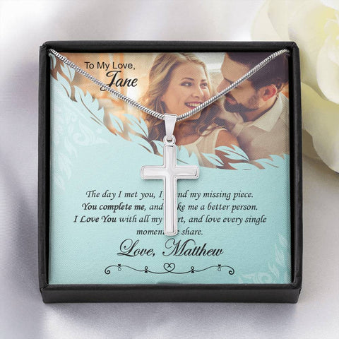 Personalized Message Card Classic Artisan Cross Necklace
