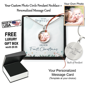 Custom Photo Circle Pendant Necklace with Personalized Message Card