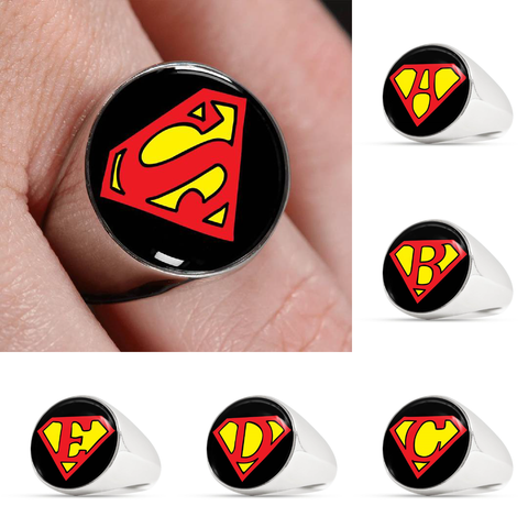 Custom Alphabet Superman Inspired Signet Ring (Black Background)