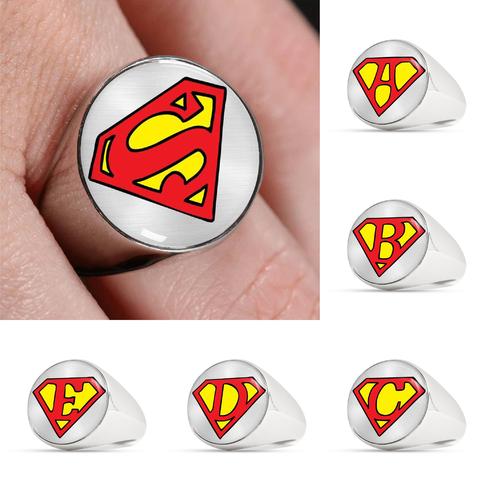 Custom Alphabet Superman Inspired Signet Ring (Metal Background)