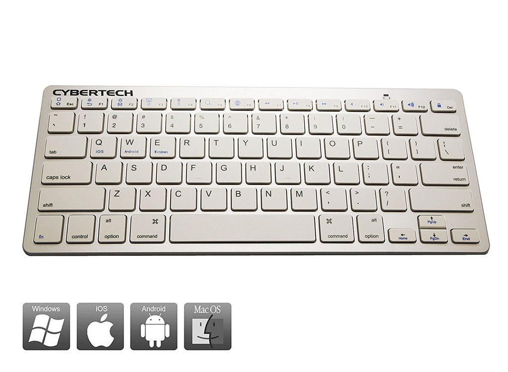 CyberTech Bluetooth Ultra-Thin Keyboard for Mobile Devices, IOS, Andriod, Windows System(White)