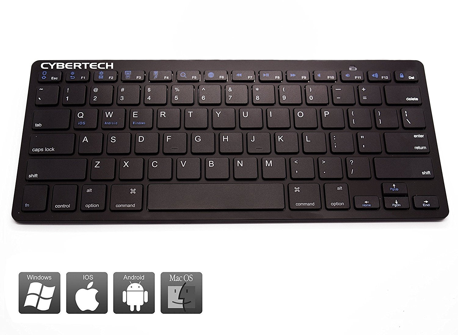 CyberTech Bluetooth Ultra-Thin Keyboard for Mobile Devices, IOS, Andriod, Windows System(Black)