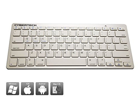 CyberTech Bluetooth Ultra-Thin Keyboard for iPad Air, Galaxy Tablets,Windows Tablets,and Other Mobile Devices,For IOS,Andriod,Windows System(WHITE)