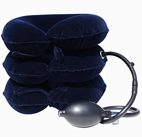 Cervical Traction Pillow Stretcher Device for Posture and Neck Pain by AcuTech - for Chronic Neck, Head, Shoulder Pain Relief - Therapeutic Inflatable Portable Pillow