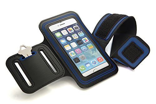 CyberTech Gym Sport Running Workout Sweat-resistant Armband Case Cover for Samsung Galaxy S2 S3 S4, Apple 5S 5C 5 4, HTC One, Motorola Blackberry Z10, and Similar Sized Mobile Phone - Blue
