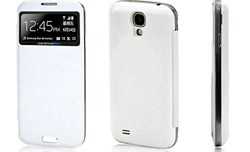 Samsung S4 Battery Bank Cover + Flip Case (White)