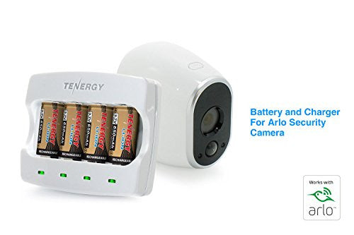 Combo: (Works with Arlo) Tenergy 3.7V RCR123A Li-ion Battery Charger + 4 pcs 3.7V 650mAh RCR123A Li-ion Batteries for Arlo Wire-Free HD Security Cameras (VMC3030) UN, UL Certified