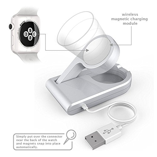 [MFI Certified] Protable Magnetic Charging Dock for All Apple Watch Models with Foldable Design to Enable Nightstand Mode, 3ft Long USB Cable