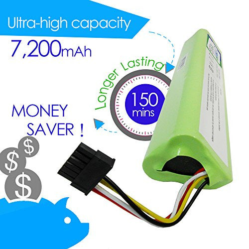 CyberTech High Capacity 7200 mAh Lithium Ion Battery for Neato Botvac Series 70e 75 80 85 and Botvac D Series D75 D80 D85 Robots, One Free Side Brush and One Free HEPA Performance Filter are included