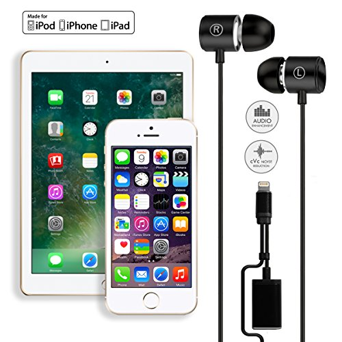 [MFI Certified] Lightning Headphone/Earphone/Earbud,Wired HiFi Stereo In-Ear Headphones Digital Lightning Earbuds with Mic and Volume Control and Lightning charging port for iPhone 7 / 8 / X (Black)