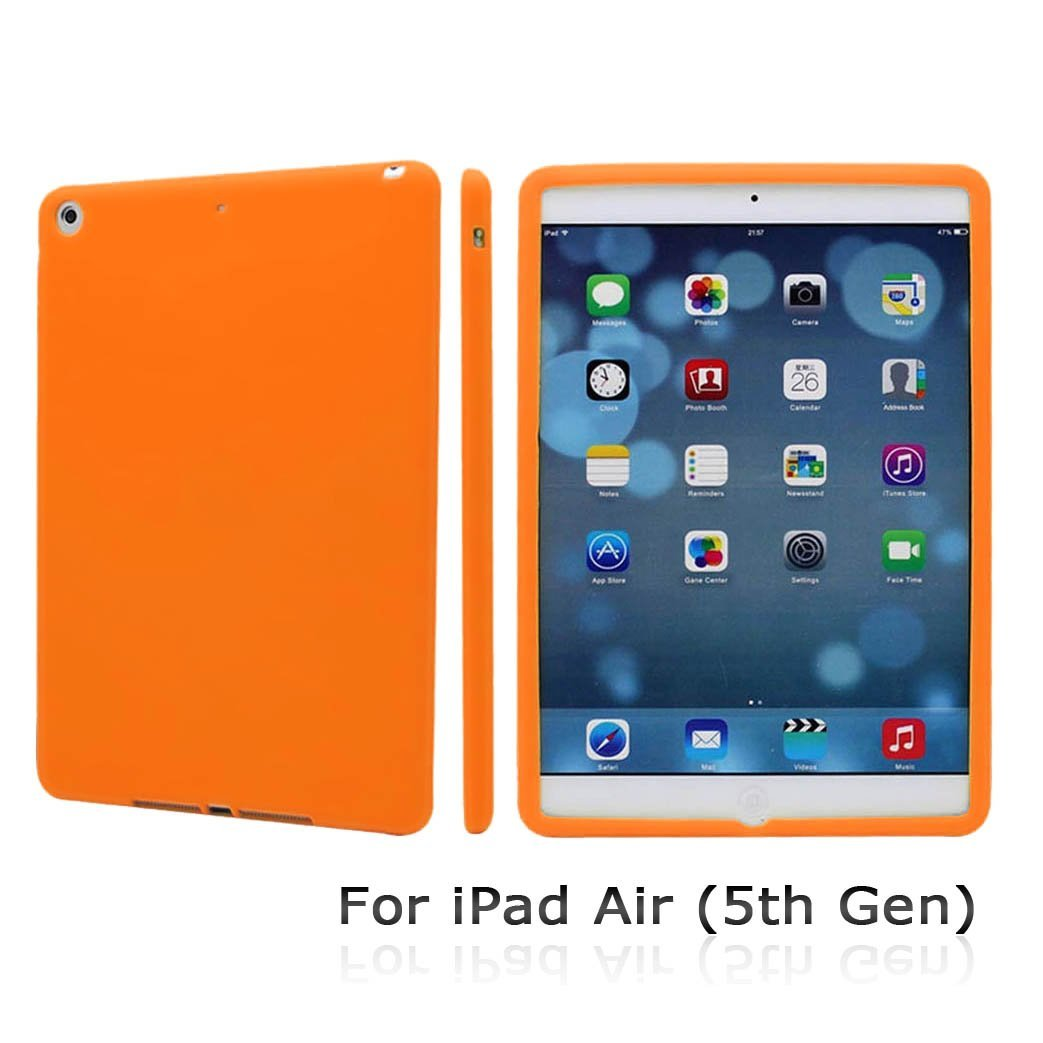 CyberTech Premium Soft Silicon Case for New iPad Air 5th Gen (Orange)