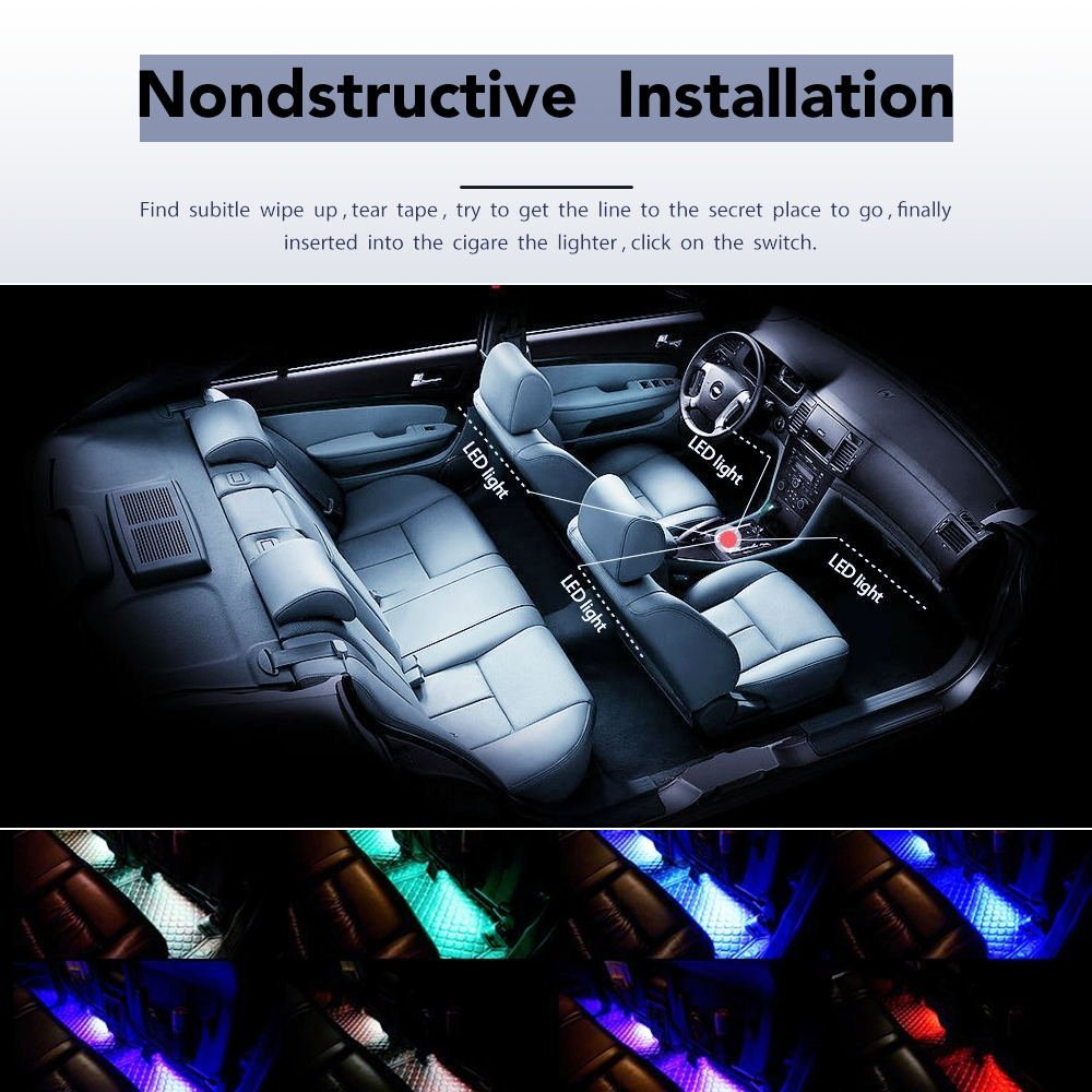 Car LED Strip Light, 4pcs 72 LED DC 12V Multicolor Music Car Interior Light LED -Under Dash Lighting Kit with Sound Active Function and Wireless Remote Control
