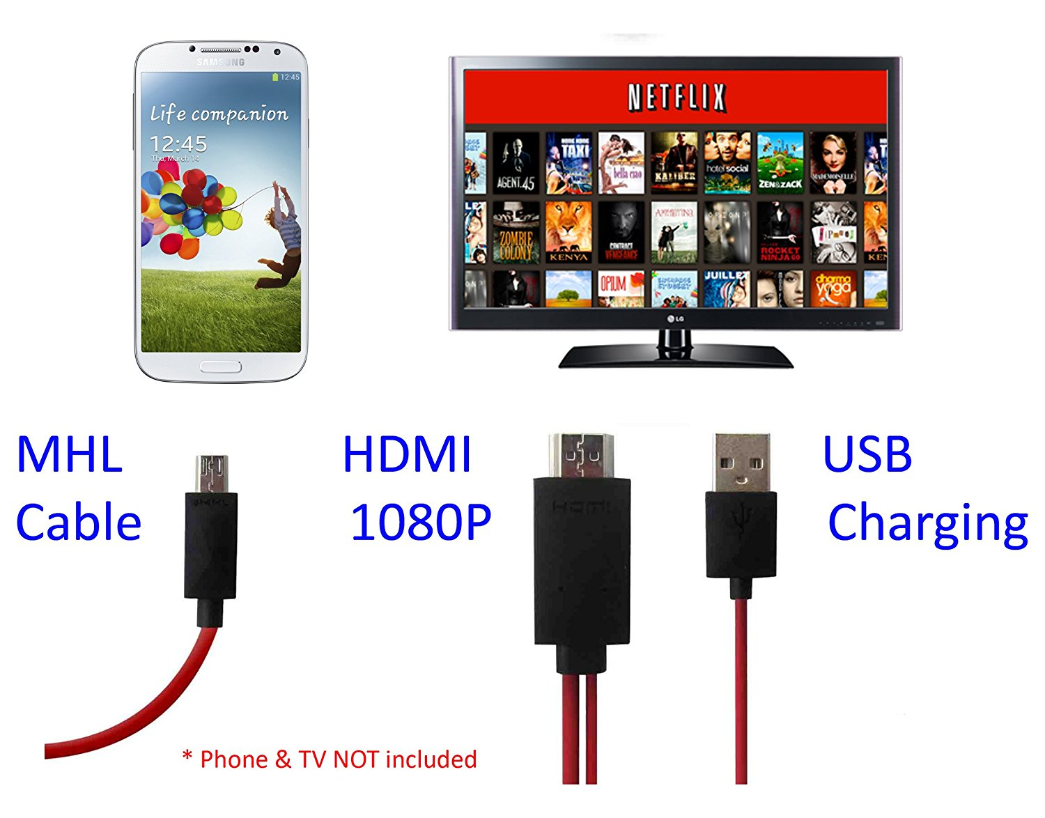 Cybertech MHL Micro USB to HDMI HDTV Adapter for Samsung Galaxy Note 2, 3