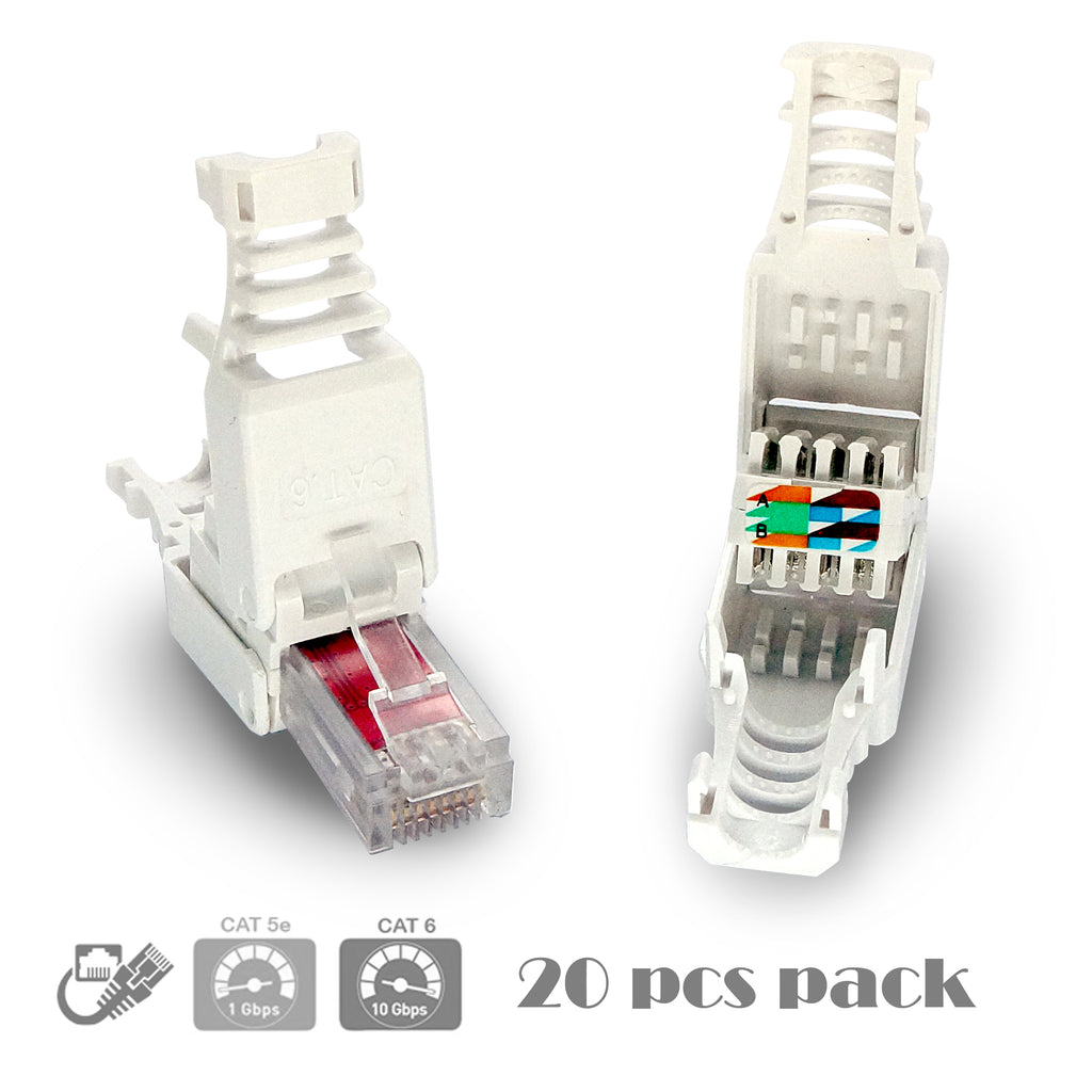 CyberTech RJ45 CAT6 Tool-less Modular Connectors Plugs