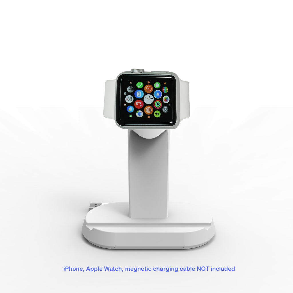 2 in 1 Stand Charging Station Dock cradle holder with Built-in Insert Slots for iPhone & Apple Watch Stand
