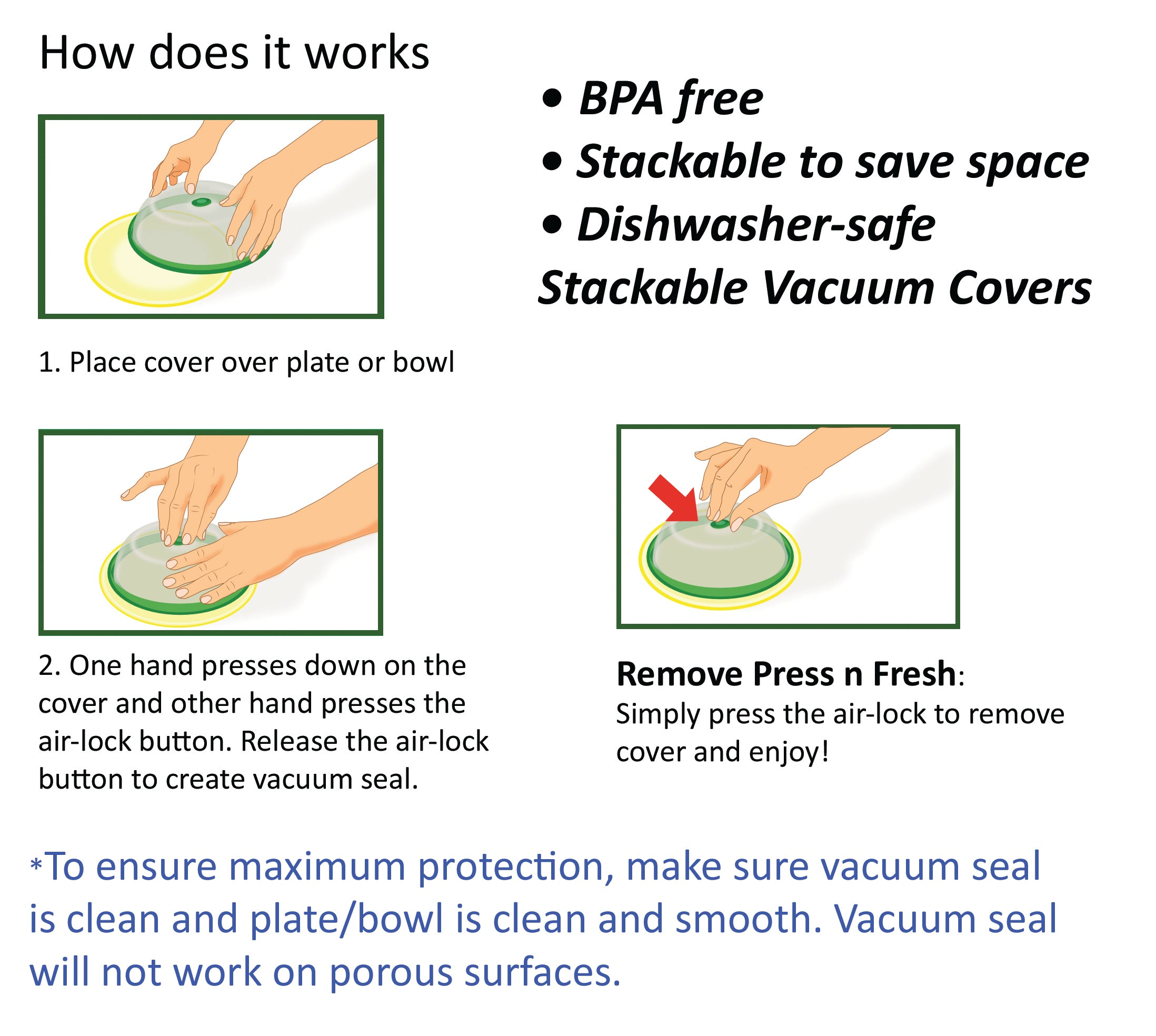 Press n Fresh Universal Vacuum Air-tight Food Sealer Container Plate Platter Lid Cover Topper Dome, Stackable, Safe for Microwave, Dishwasher and BPA Free (9 & 7 inches, Green)