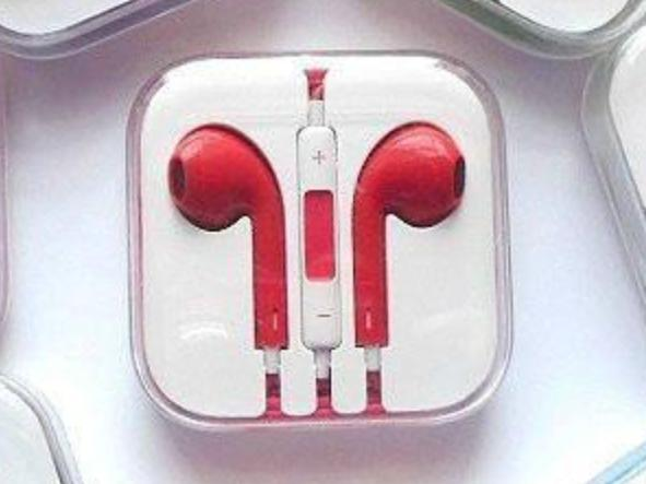 CyberTech Red Earphones w/ Volume Control + Clear Hard Case