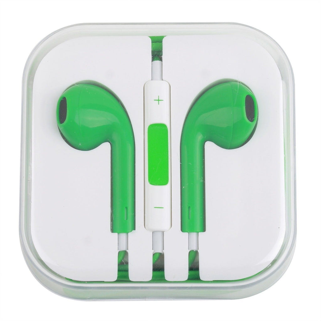 CyberTech Green Earphones w/ Volume Control + Clear Hard Case