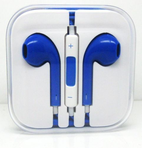 CyberTech Blue Earphones w/ Volume Control + Clear Hard Case