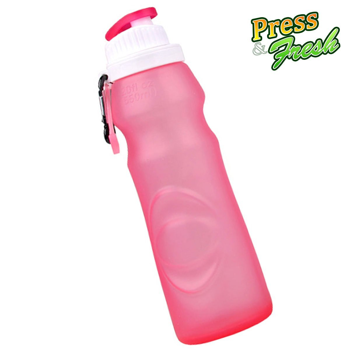 Press n Fresh Silicone Foldable Water Bottle - Perfect for Running, Biking, Jogging, Hiking, Camping, Picnic, Yoga,Travel, and More